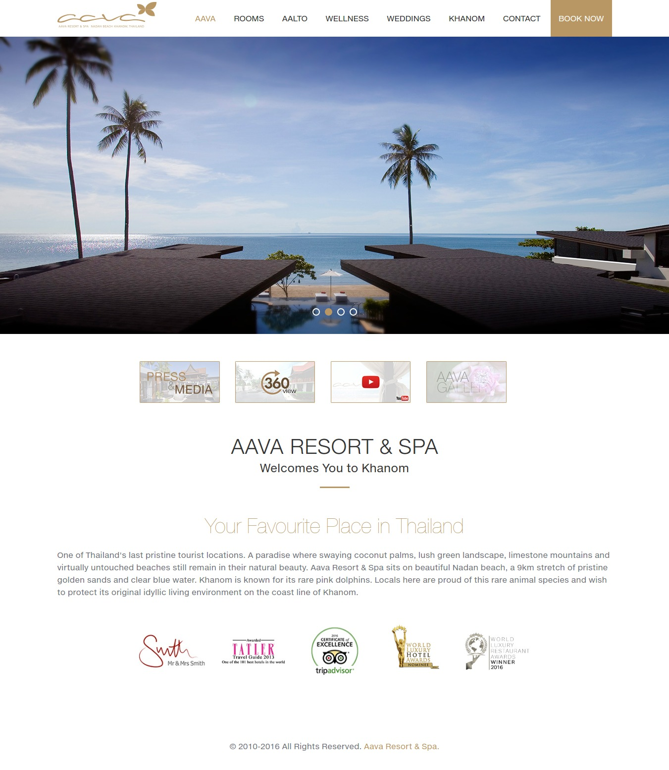 Homepage design for AAVA Resort