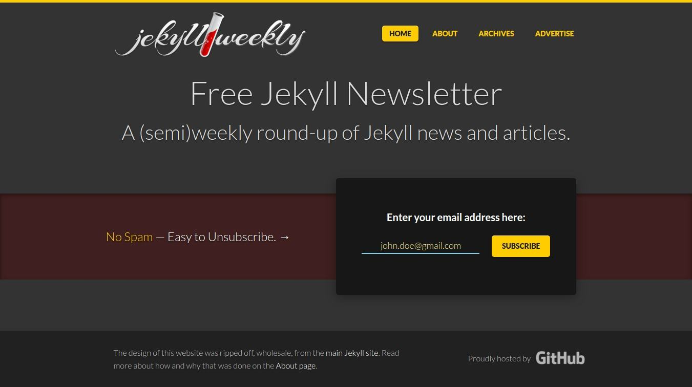 Homepage design for jekyllweekly.com
